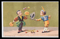 Two Young Conjurers Performing Flying Butterflies