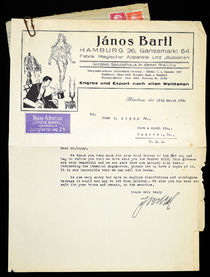 Janos Bartl Signed Note