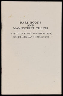 Rare Books and Manustript Thefts