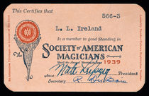 S.A.M. Membership Card for L.L. Ireland, Signed by Nate Leipzig