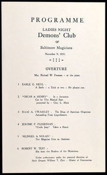 Ladies Night, Demons' Club of Baltimore Magicians