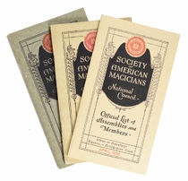 Society of American Magicians: Official List of Assemblies and Members, Set of Three