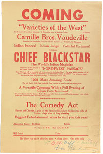 Chief Blackstar, the World's Indian Magician Broadside