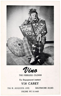 Vino the Peerless Clown Postcard